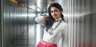 priya bhavani shankar in long pink bandhani skirt with white t-shirt