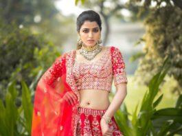 sai dhansika in red bridal lehenga for varaa magazine cover shoot