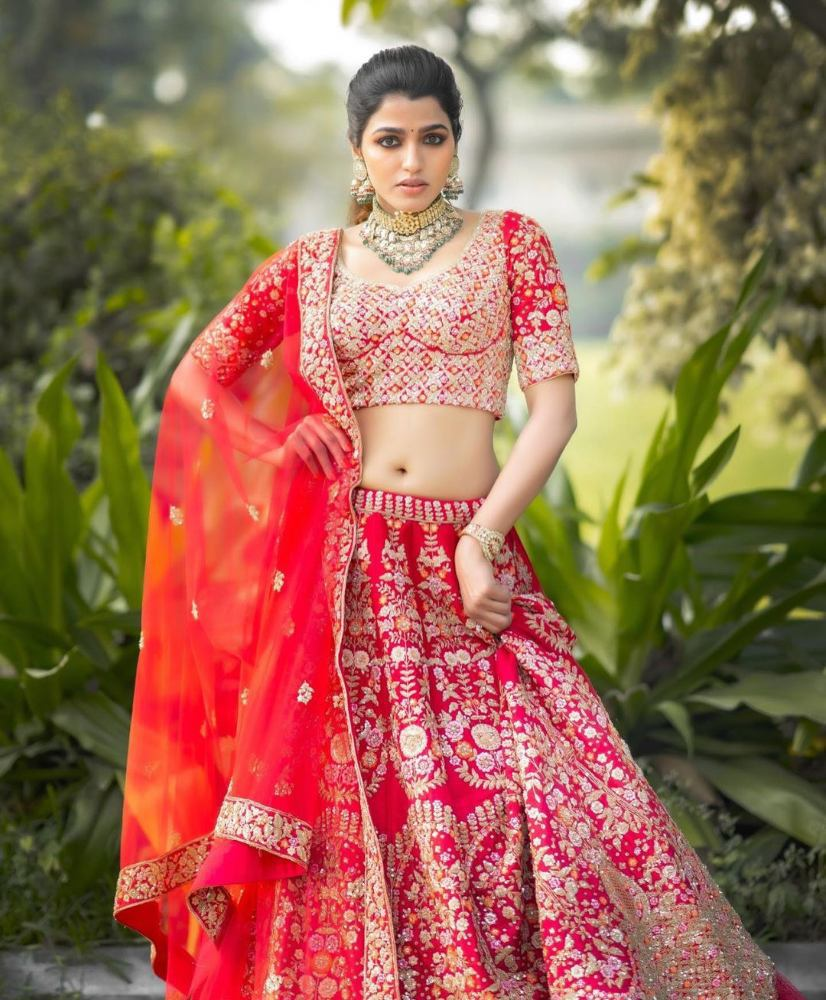 sai dhansika in red bridal lehenga for varaa magazine cover shoot