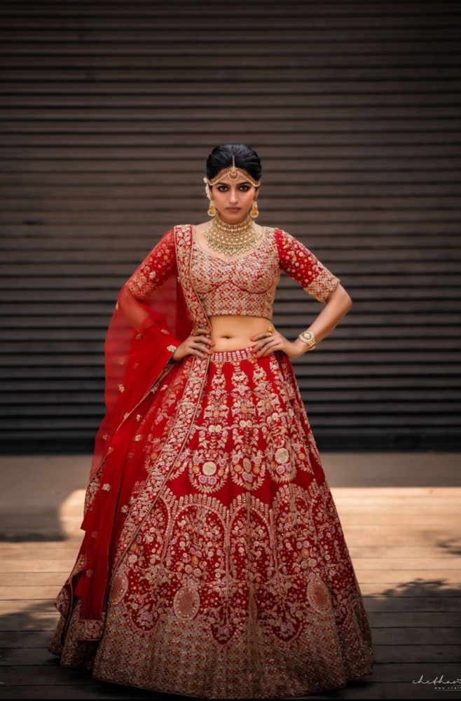 sai dhansika in red bridal lehenga for varaa magazine cover