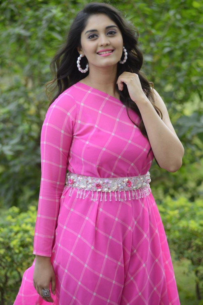 surbhi puranik at Movie Song Okey Oka Lokam Nuvvey Success Celebrations in pink