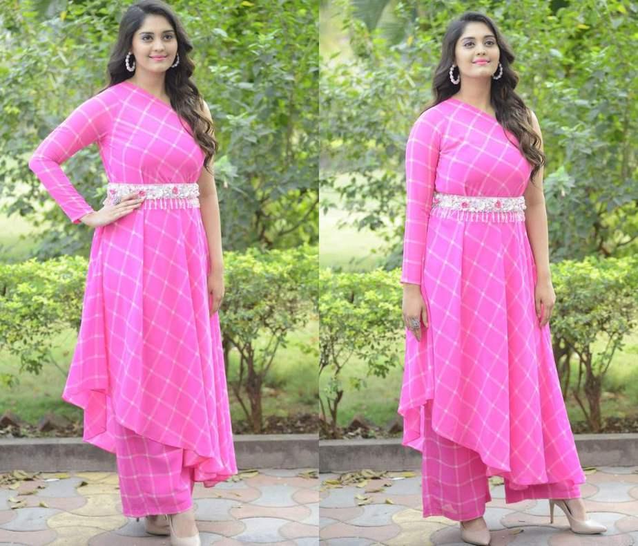 surbhi puranik in a pink one shoulder kurta palazzo set