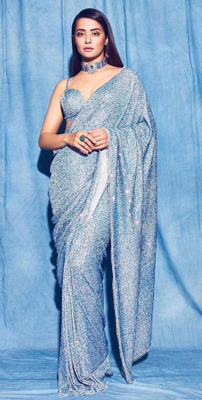 surveen chawla in powder blue saree by Neeta lulla-1