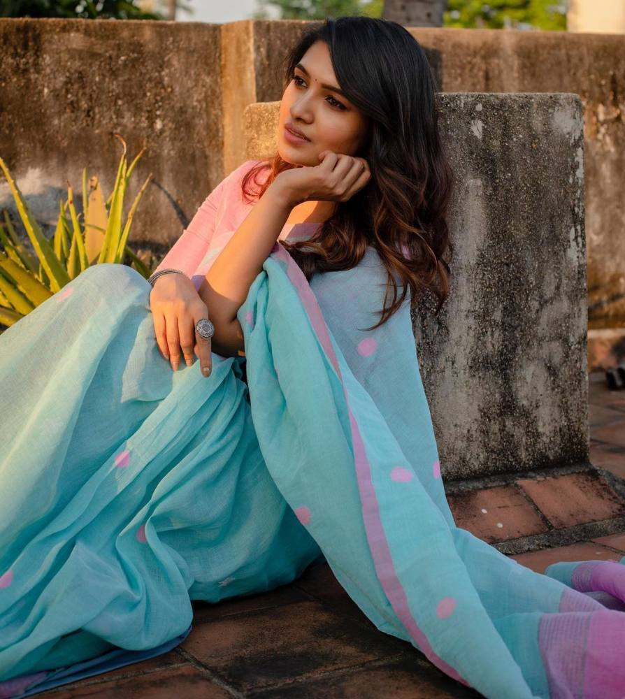 vani bhojan blue saree from the pallu shop with pink blouse