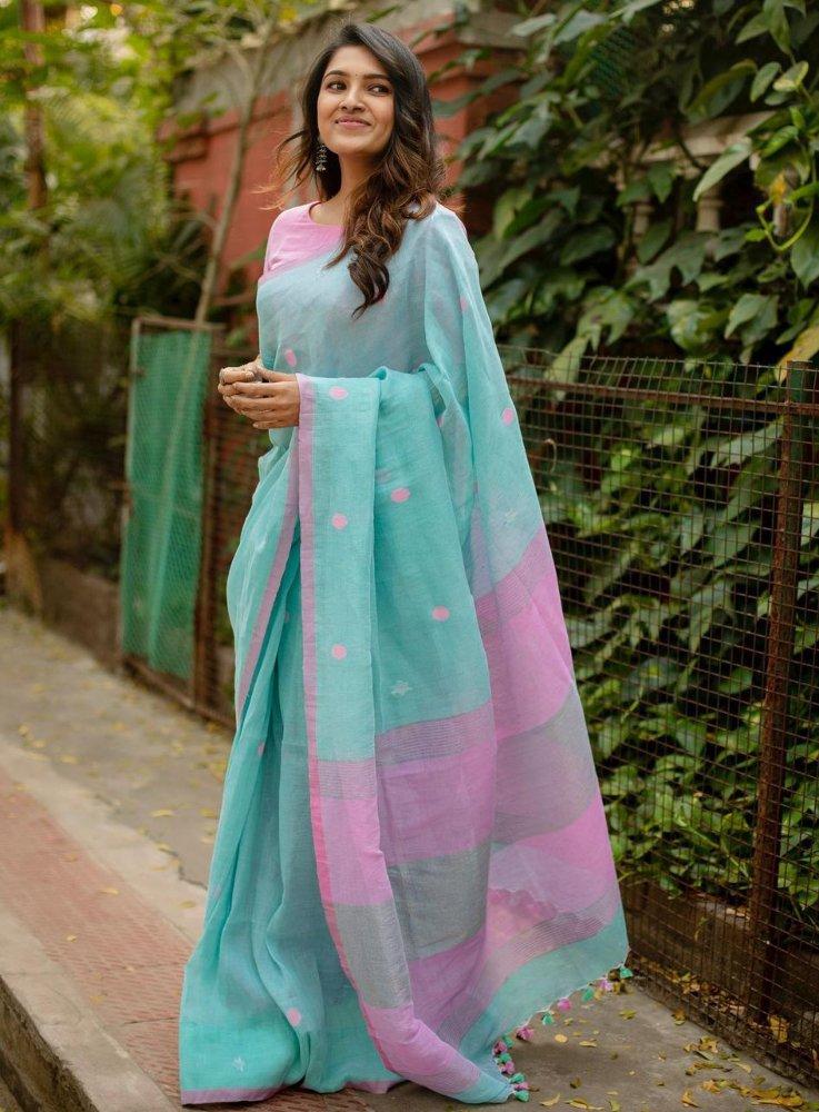 vani bhojan in sky blue linen cotton saree