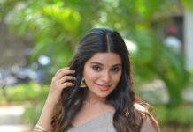 Aathmika in a beige saree at Vijayaraghavan trailer launch -2