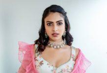 Amala Paul in pink chaitanya rao lehnega for her bestfriend's engagement-5