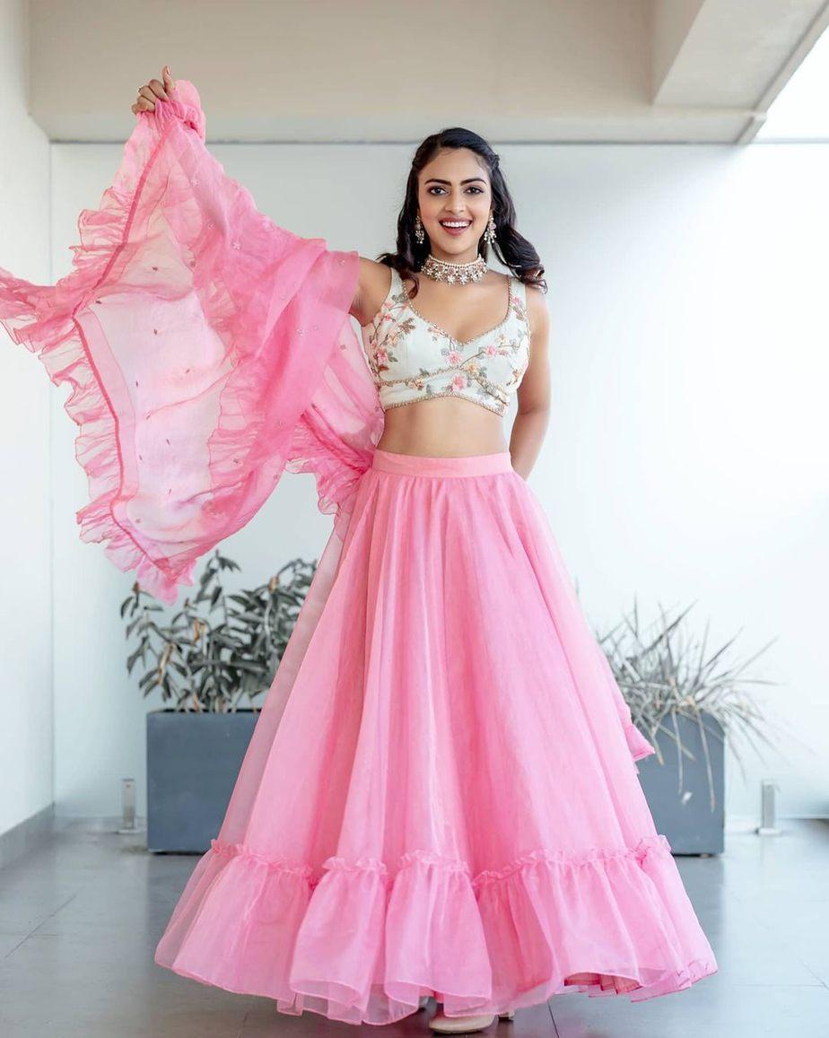 Amala Paul in pink chaitanya rao lehnega for her bestfriend's engagement