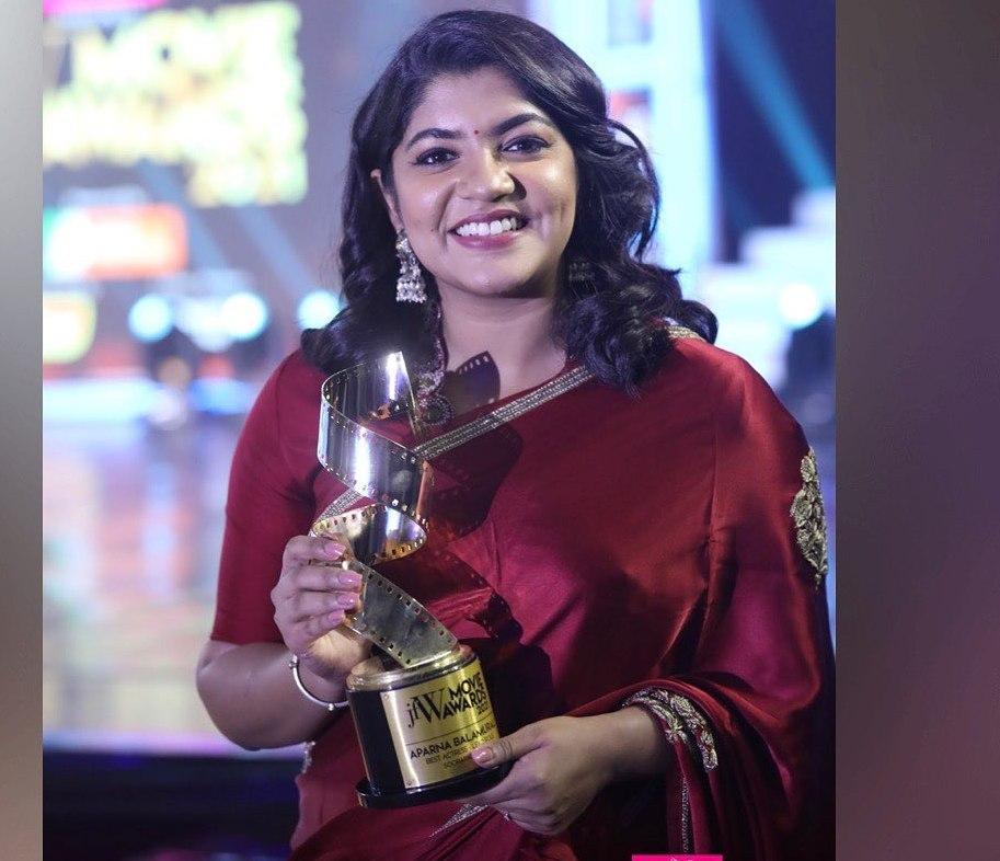 Aparna Balamurali in red raw mango saree for JFW awards-2
