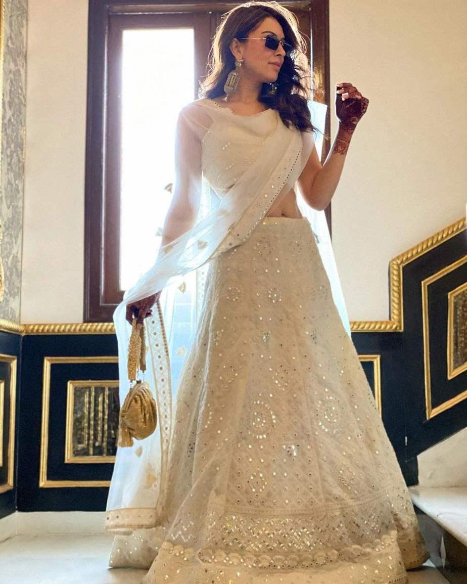 Hansika Motwani in a white lehenga for brother's wedding day celebrations-1