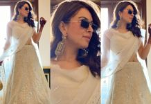 Hansika Motwani in a white lehenga for brother's wedding day celebrations-featured