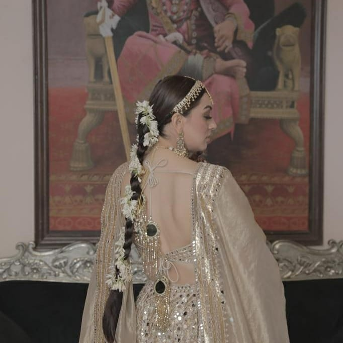Hansika Motwani in an ivory Abhinav Mishra lehenga for brother's wedding-2