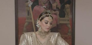 Hansika Motwani in an ivory Abhinav Mishra lehenga for brother's wedding-3
