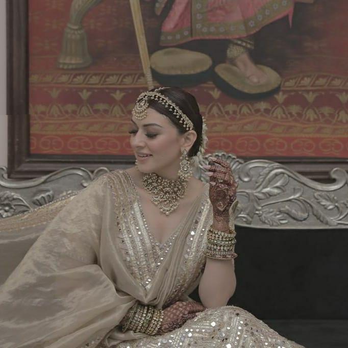 Hansika Motwani in an ivory Abhinav Mishra lehenga for brother's wedding-4