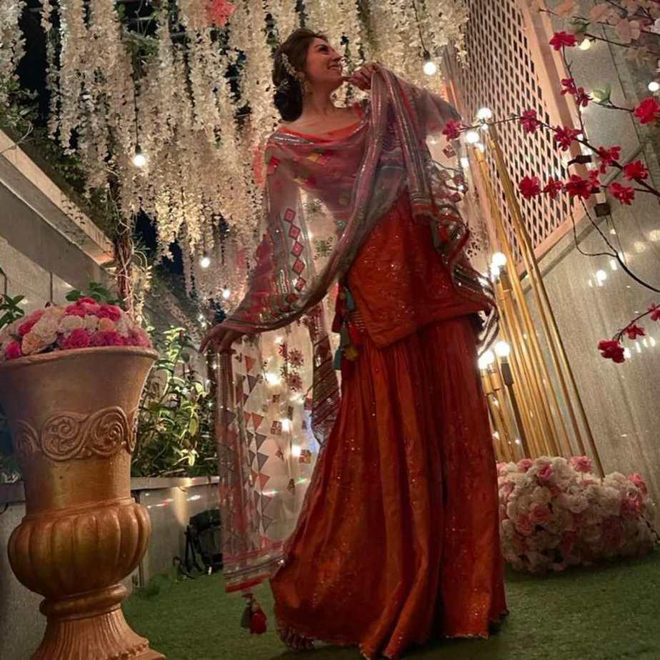Hansika Motwani in fire sharara set by Sukriti and aakriti for brother's wedding-1