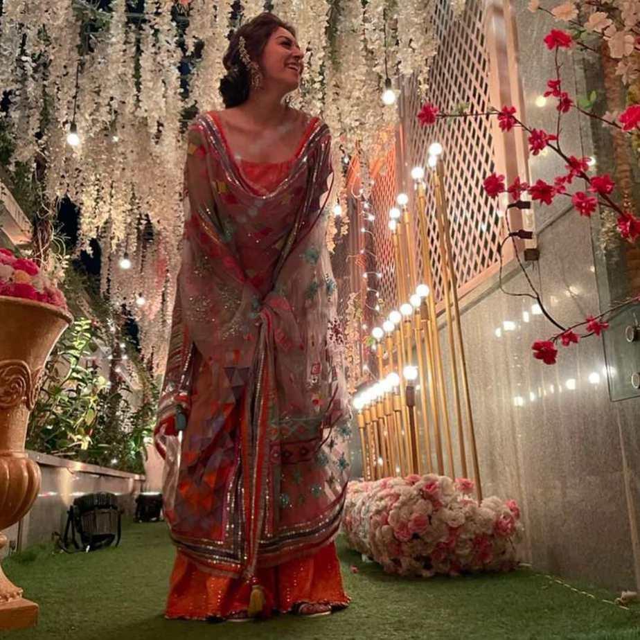 Hansika Motwani in fire sharara set by Sukriti and aakriti for brother's wedding-2