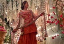Hansika Motwani in fire sharara set by Sukriti and aakriti for brother's wedding