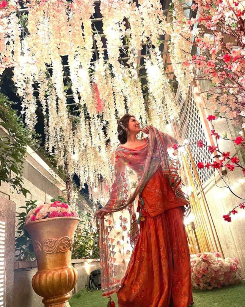 Hansika Motwani in fire sharara set by Sukriti and aakriti for brother's wedding-3