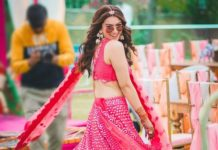 Hansika in pink abhinav mishra lehenga for brother's wedding day 3-1