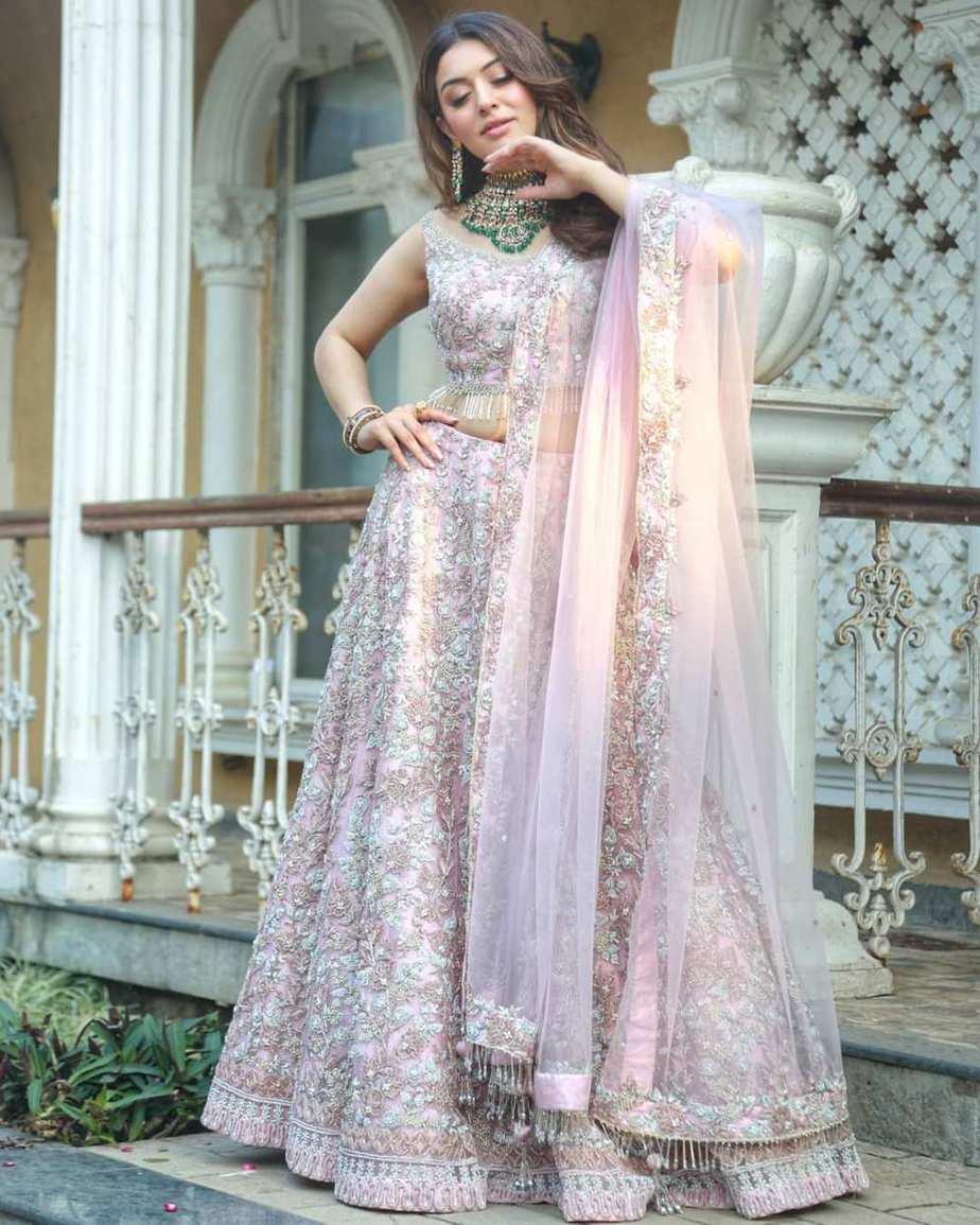 Hansika in rose pink lehenmga by Jiya -2