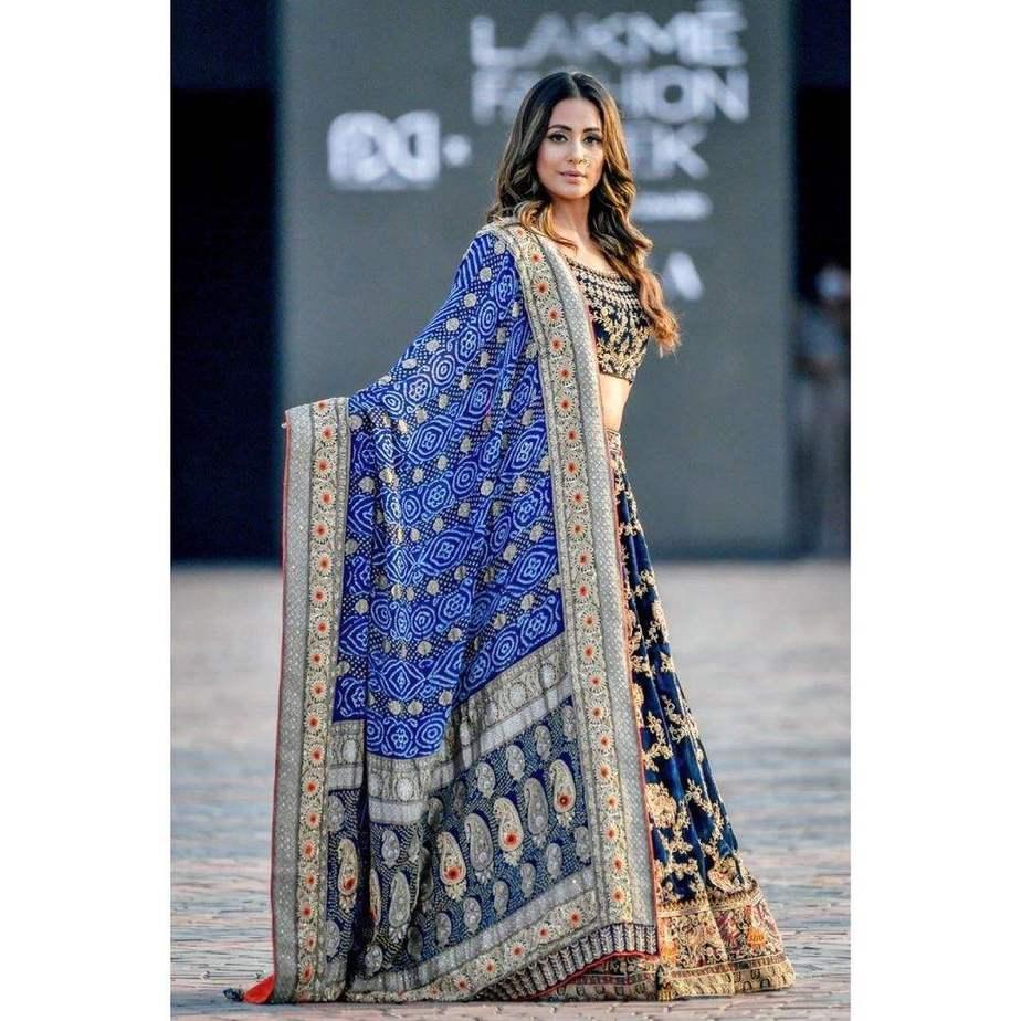 Hina Khan in a blue lehenga by Tatwamm for FDCIxLFW-1