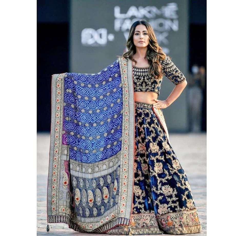 Hina Khan in a blue lehenga by Tatwamm for FDCIxLFW-2
