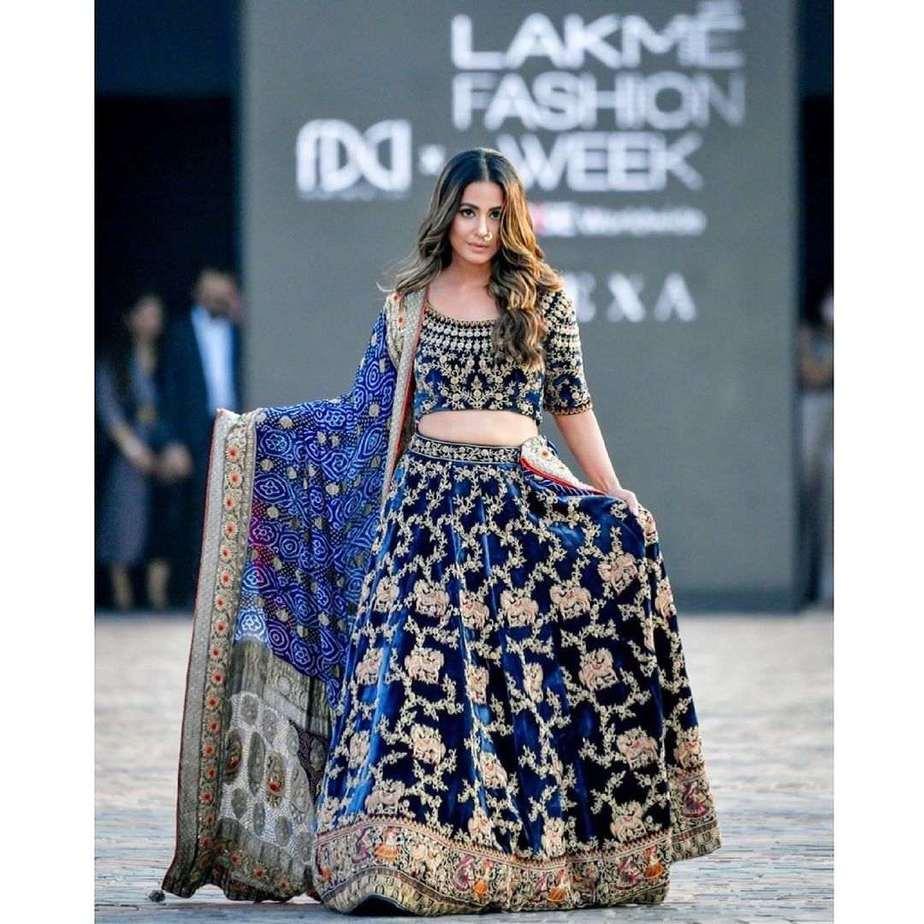 Hina Khan in a blue lehenga by Tatwamm for FDCIxLFW-3