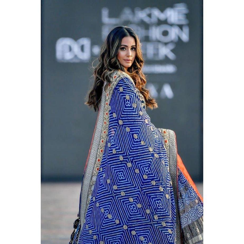 Hina Khan in a blue lehenga by Tatwamm for FDCIxLFW