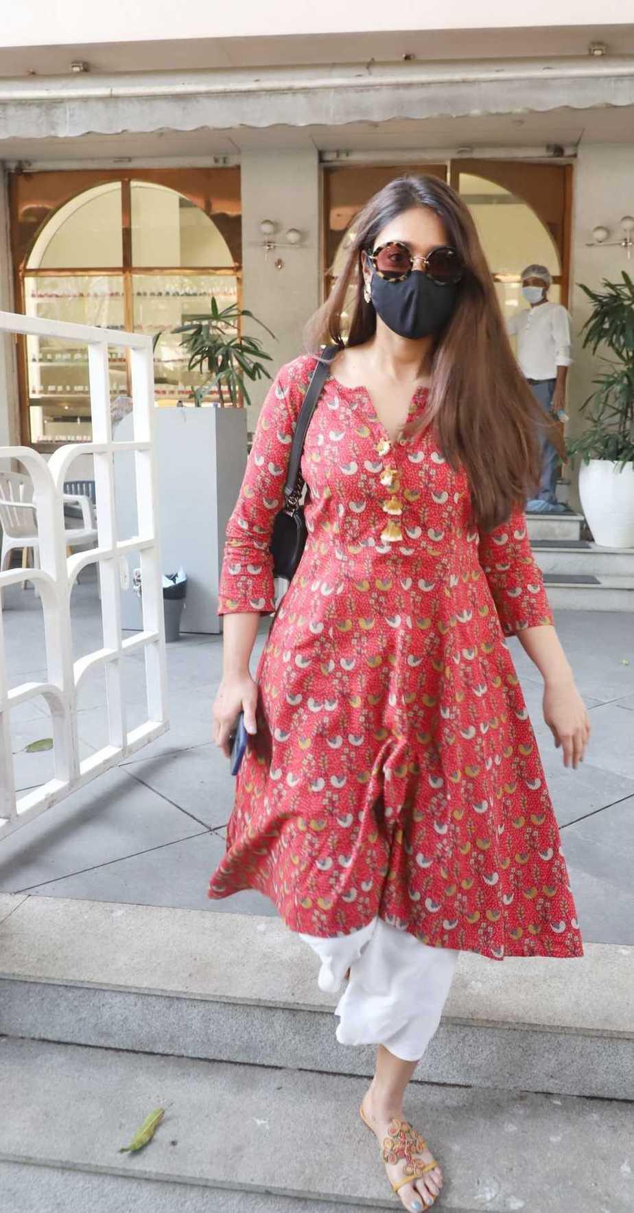Ileana D' Cruz in brick red kurta spotted in Bandra