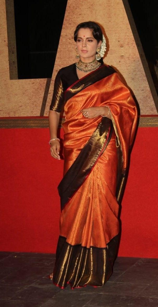 Kangana Ranaut in a madhurya creations pattu saree for thalaivi trailer launch-1