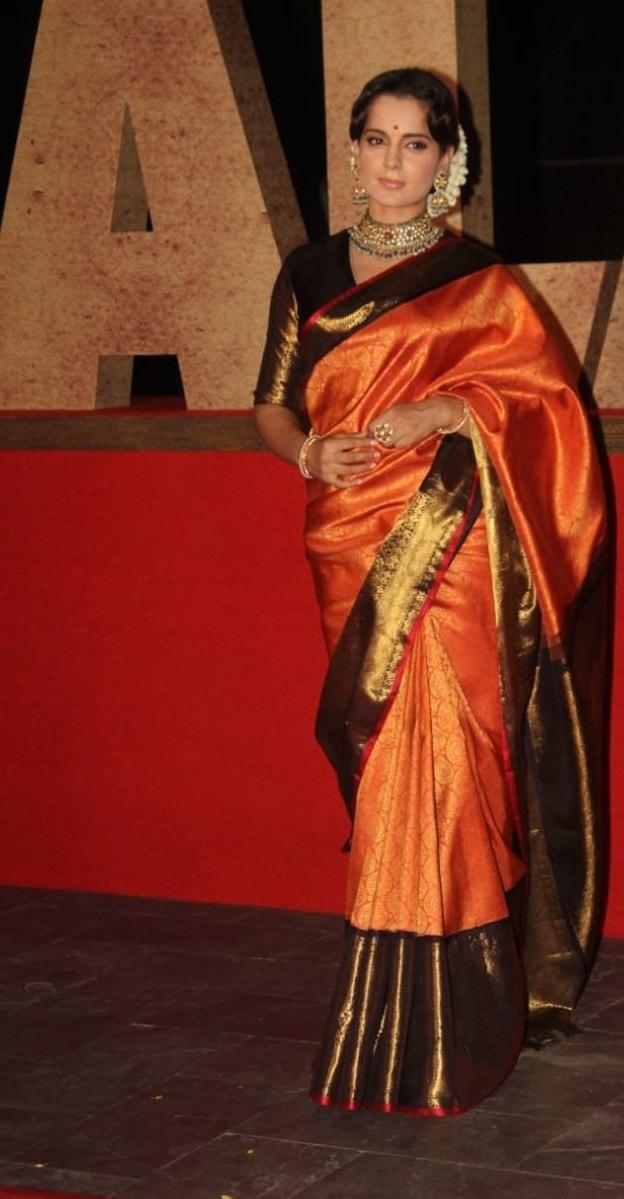 Kangana Ranaut in a madhurya creations pattu saree for thalaivi trailer launch