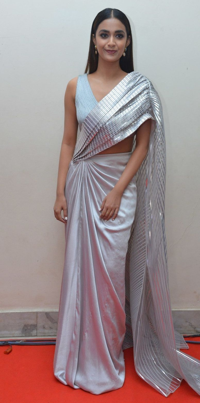 Keerthy Suresh in a metallic silver pre-draped saree for rang de pre-release event-3