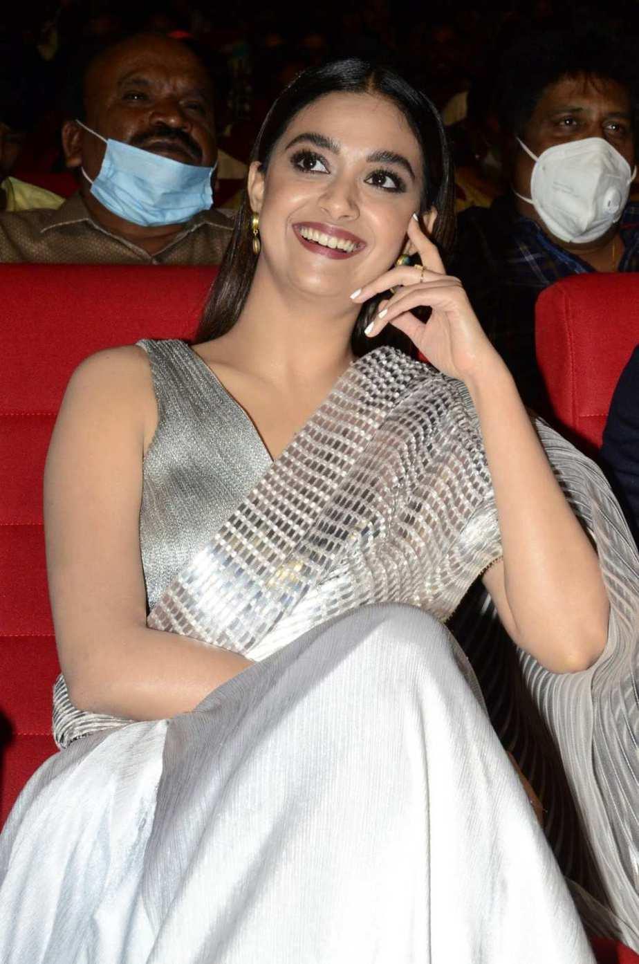 Keerthy Suresh in a metallic silver pre-draped saree for rang de pre-release event