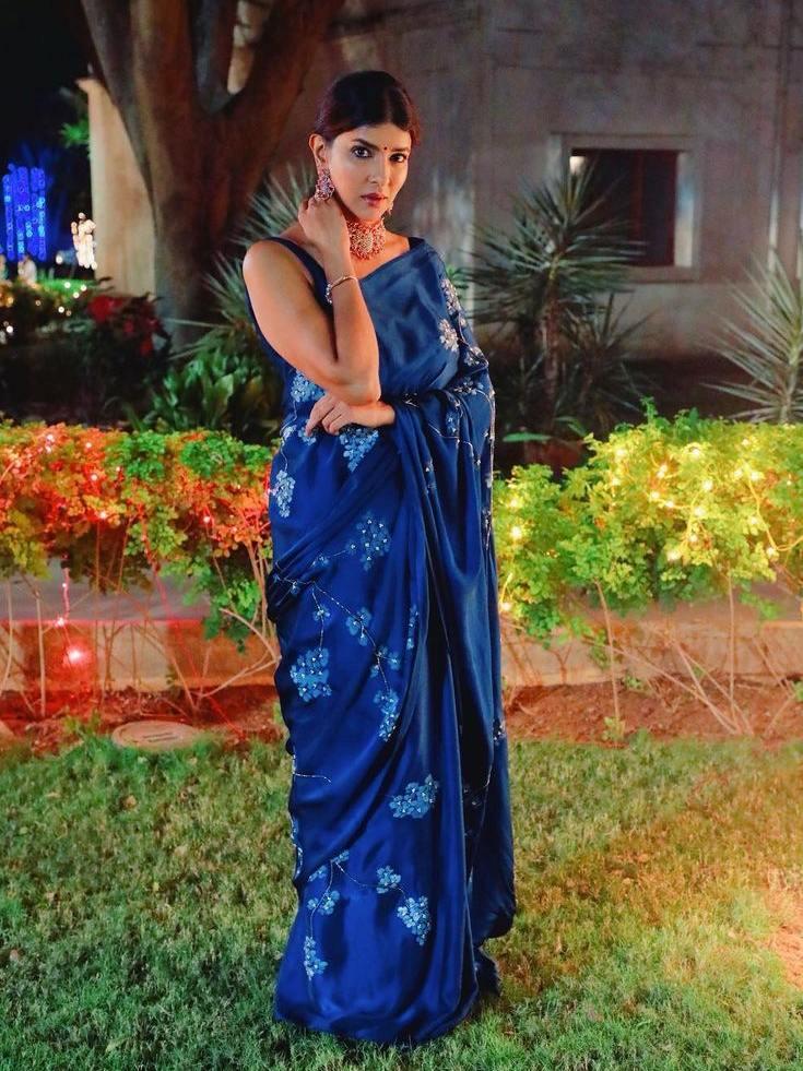 Lakshmi Manchu in a blue saree by Muksweta for Mohan babu's b'day party-1
