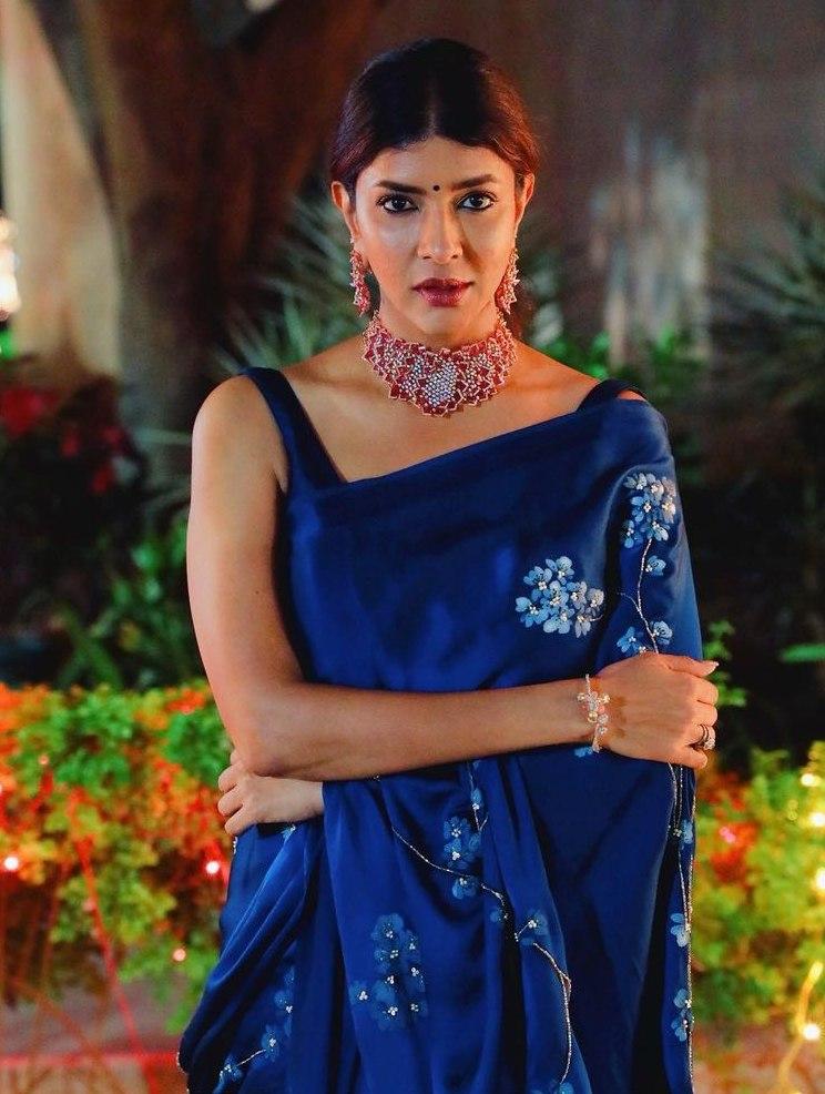 Lakshmi Manchu in a blue saree by Muksweta for Mohan babu's b'day party-2