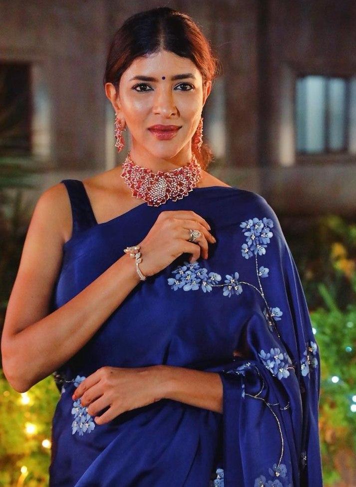 Lakshmi Manchu in a blue saree by Muksweta for Mohan babu's b'day party-3