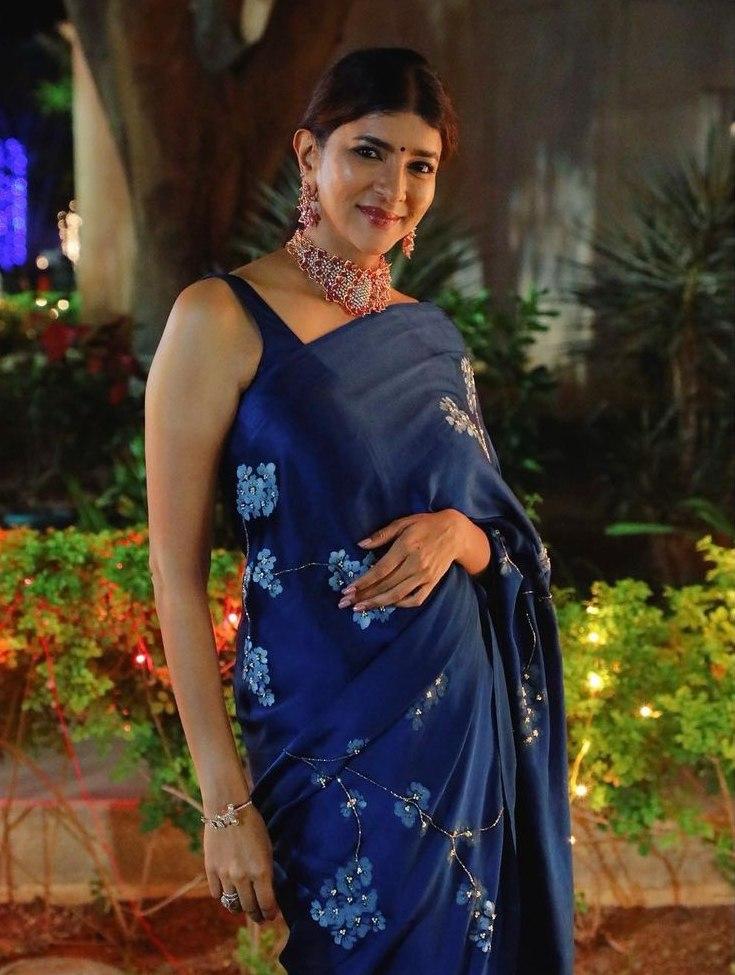 Lakshmi Manchu in a blue saree by Muksweta for Mohan babu's b'day party-4