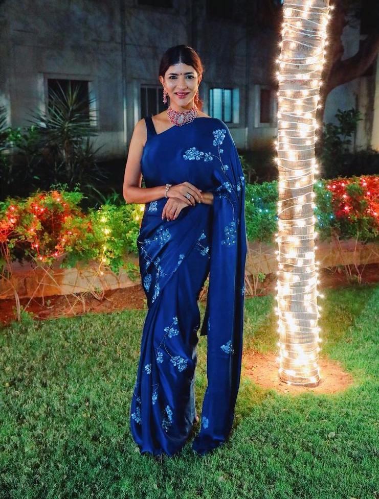 Lakshmi Manchu in a blue saree by Muksweta for Mohan babu's b'day party