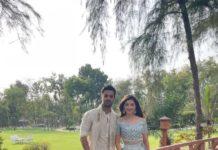 Mehreen Pirzadaa in powder blue lehenga by studio iris for her engagement-1