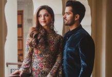 Mehreen Pirzadda in beige sahil kochhar gown post engagement photoshsoot-2