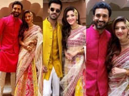 Mehreen pIrzadaa in a pink yellow lehenga for her engagement ceremony-featured