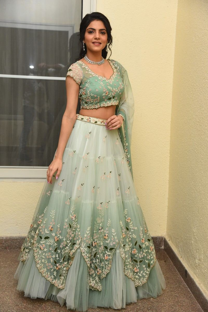 Misha Narang in mint green floral lehenga for Thellavarithe Guruvaram pre-release event-2