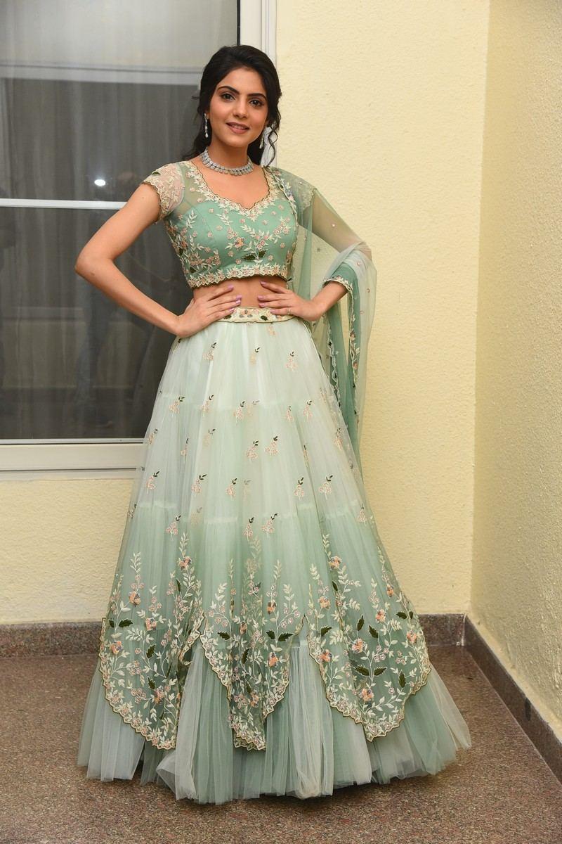 Misha Narang in mint green floral lehenga for Thellavarithe Guruvaram pre-release event-3