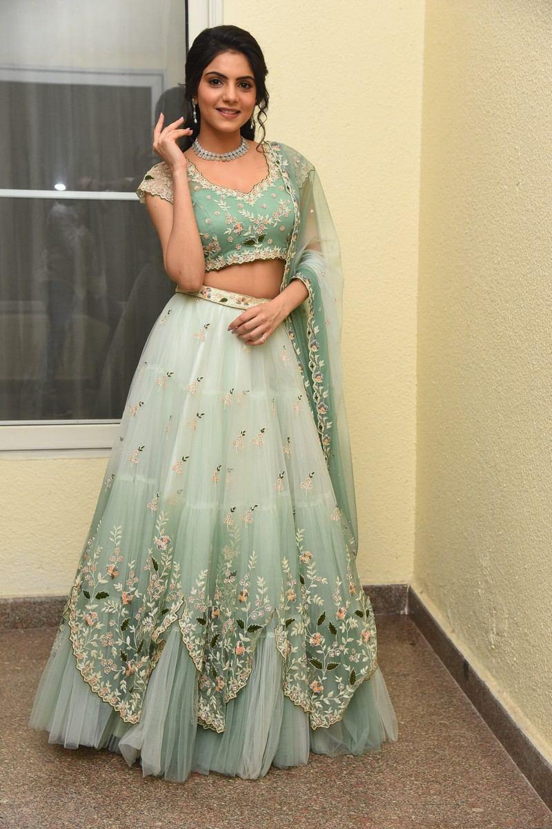 Misha Narang in mint green floral lehenga for Thellavarithe Guruvaram pre-release event-4