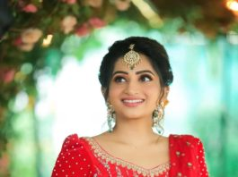 Nakshathra Nagesh in red-yellow lehenga by studio the design hub-1