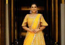 Nakshatra Nagesh in yellow lehenga by Sameena