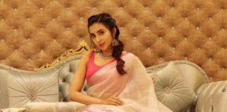 Parvati Nair in a white saree for holi-2