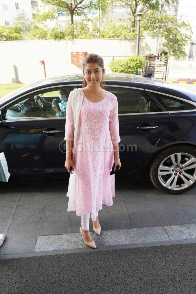 Pranitha Subash in pink kurta set in Hyderabad-1