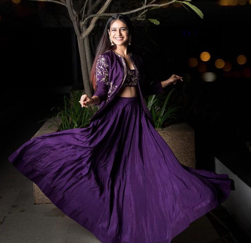 Priya Praksh Varrier in crop top-lehenga -jacket by Pratyusha Garimella-2