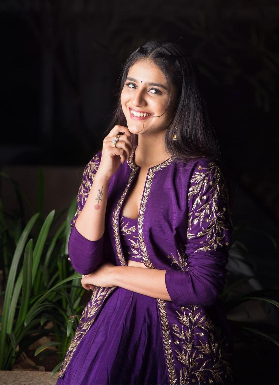 Priya Praksh Varrier in crop top-lehenga -jacket by Pratyusha Garimella